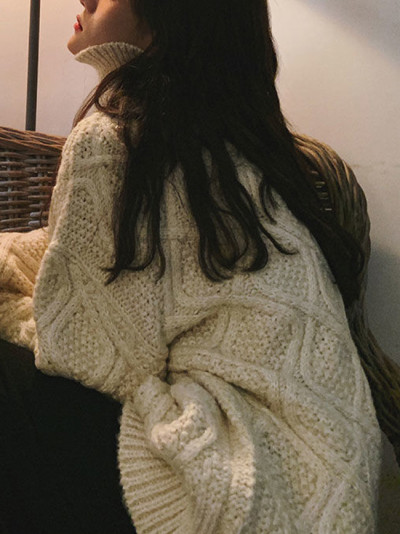 Pullovers Women Turtleneck Knitted Sweater Fashion Clothing Solid Tops