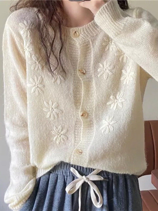 Cardigans Autumn New Design Loose Chic Embroidered Knitted Women Sweater Coat