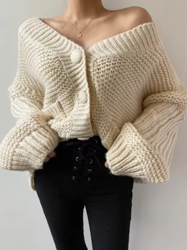 Knitted Sweater V-neck Knit Cardigan Female Fashion Coat
