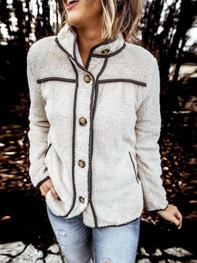 Vintage Stylish Pockets Oversized Plaid Jacket Coat Women