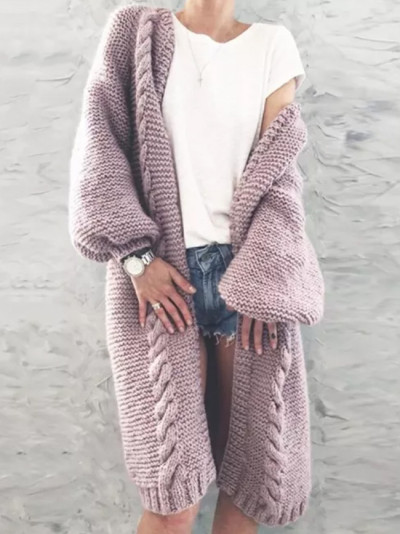 Women Autumn Winter Long Puff Sleeve Knitted Cardigan Warm Soft Solid Color Long Coat