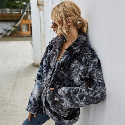Tie Dye Coat Woman Teddy Jacket Thicken Warm Faux Fur Coat