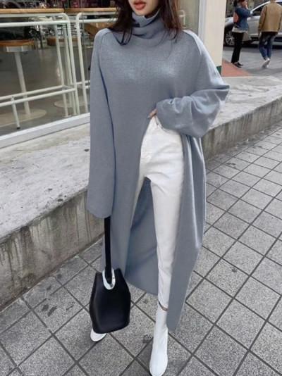 Fashion Turtleneck Split Long Women Sweater Autumn Winter Knitting Tops