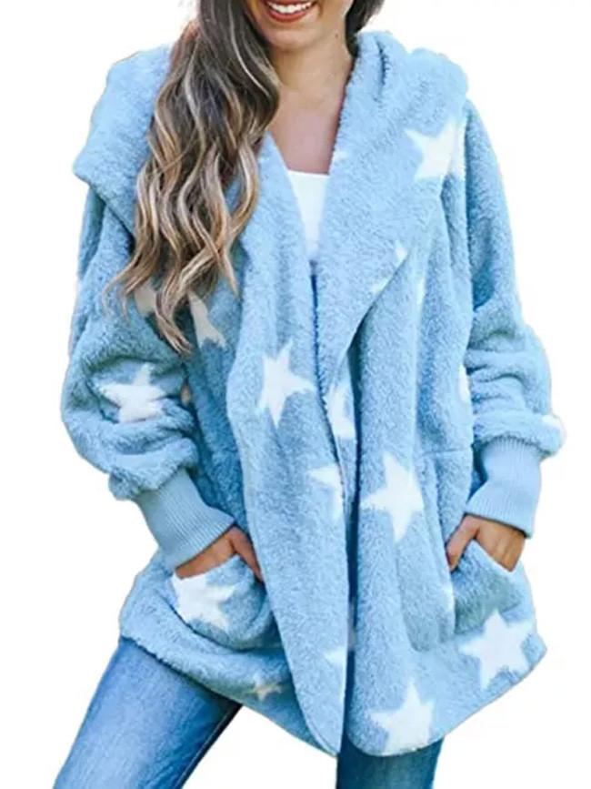 Women's Casual Stars Pockets Oversized Faux Fur-Fuzzy Hooded Outerwear Coat