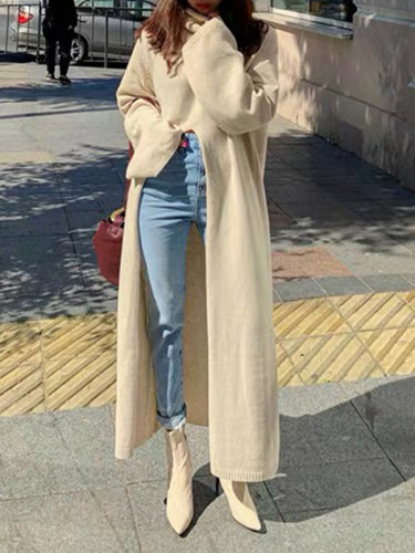 Fashion Turtleneck Split Long Women Sweater Autumn Winter Knitting Tops