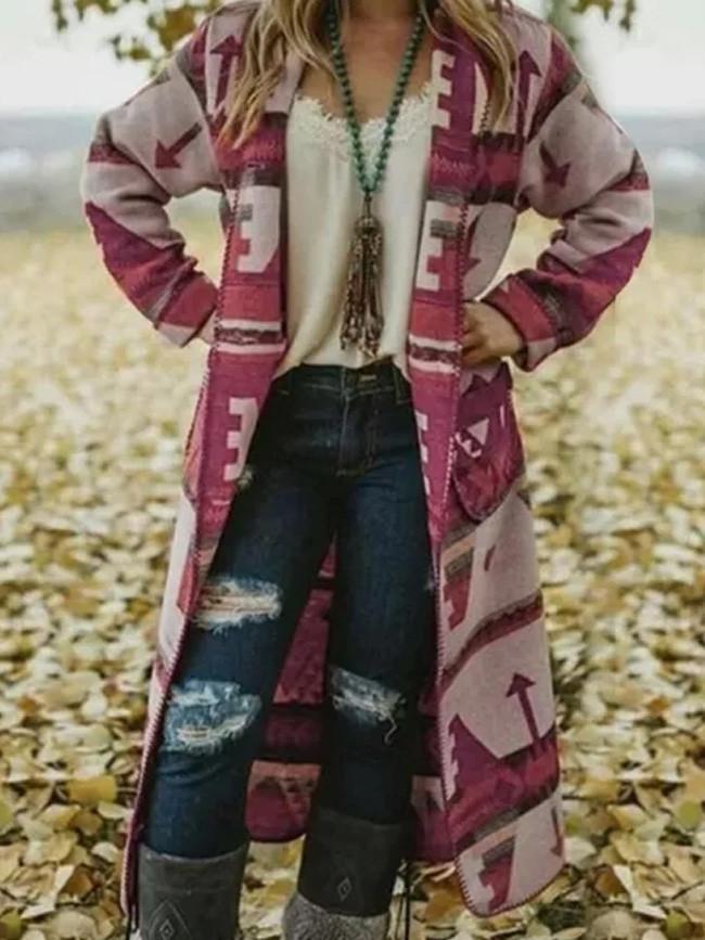 Autumn New Sweater Women Long Sleeve Print Cardigan Open Front Jacket Coat