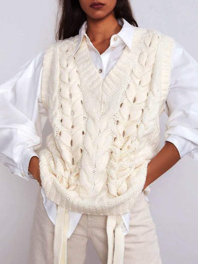 Women Knitted Sweaters Pullovers Vest Sleeveless Loose Casual Ladies Knit Sweater Vest Female Chic 2020 Spring New Waistcoat