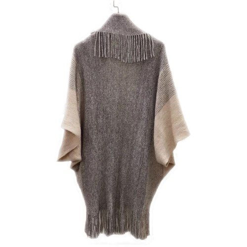 Womens Patchwork Pattern Knitted Sweaters Cape Sweaters Outwear Tops