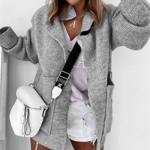 Autumn New Cardigan Women Sweater Pure Color Loose Lapel Collar Long Sleeve