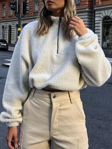 Newest Womens Winter Warm Fluffy Pullovers Jumper Coat Zipper Tops
