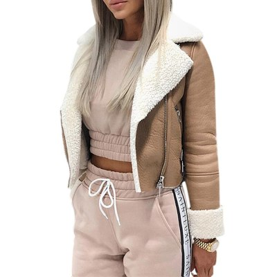 Fashion Women Autumn Winter Warm Jacket Lapel Suede Casual Outwear Ladies