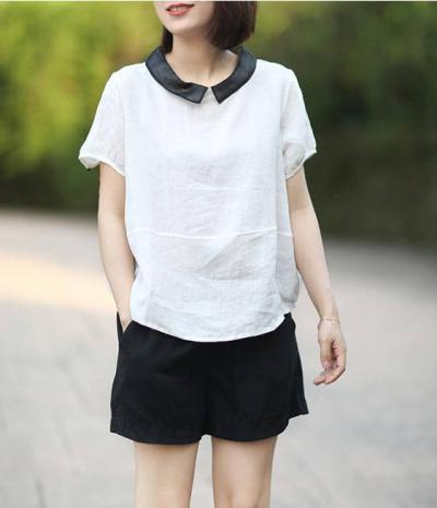 Loose Casual Short Sleeve Collar Patchwork linen Tops Vintage Female Blouse