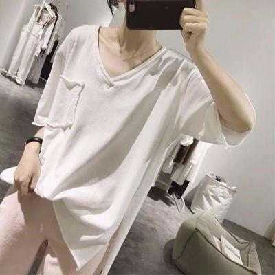 Fashion Women V-neck Short Sleeve Casual Loose Tee Shirt Tops