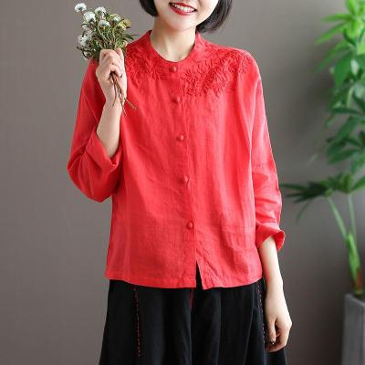 Women Long Sleeve O-neck Loose Shirts Vintage Embroidery Cotton Linen Blouses Tops