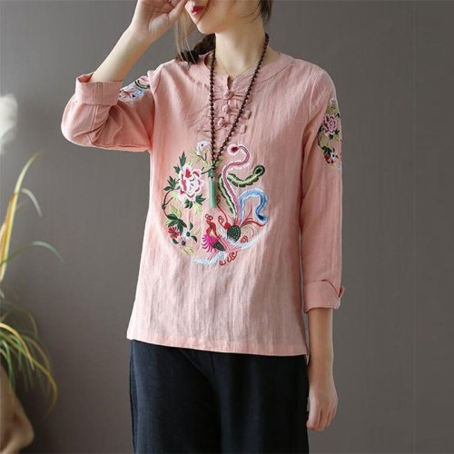 Long Sleeve Loose O-neck Buttons Tee Shirt cotton linen Embroidery Vintage Tops