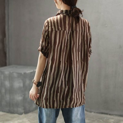 New Style Casual Ladies Tops Striped Cotton Linen Vintage Female Blouse