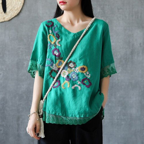Women Tshirt Floral Embroidery Vintage cotton linen Tee Shirt
