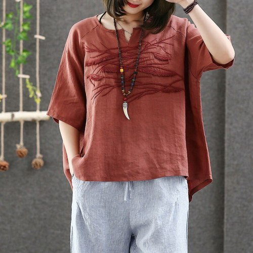 Women Tshirt Vintage Embroidery Cotton Linen Tee Shirt V-neck Loose Tops