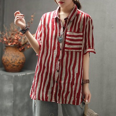 Vintage Striped Linen Blouse Turn-down Collar Loose Casual Ladies Tops