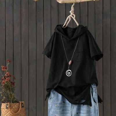 Loose Casual Hooded Tee Shirt Hole Cotton Femme Print Tops