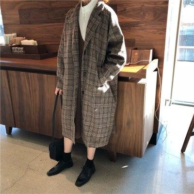 Blends Women Plaid Long Coat Pockets Single Breasted Woolen Outwear Chic