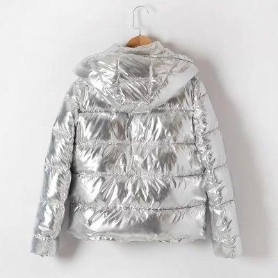 Thicken Hooded Winter Jacket silver Parka Warm  Coat