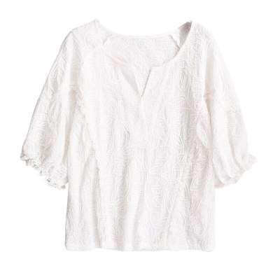Fashion Women V-neck Loose Embroidery Lace Blouse