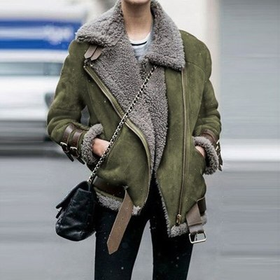 Lady Leather Velvet Stand Collar Warm Coat