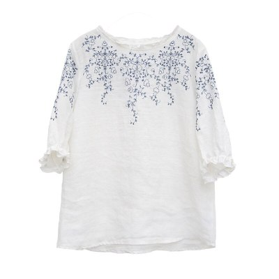 Loose Vintage Embroidery Tee Shirt  Cotton Linen T-shirts Tops