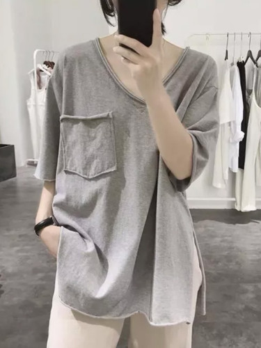 Fashion Women V-neck Short Sleeve Casual Loose Tee Shirt Tops