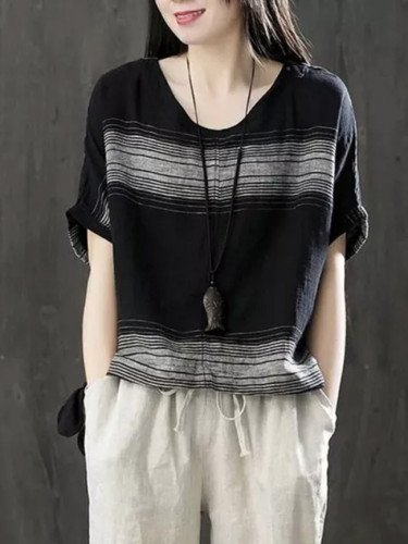 Loose Batwing Sleeve Tee Shirt Cotton Striped Vintage T Shirts Tops