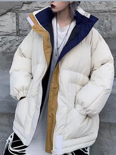 Oversize Jacket Patchwork Windbreaker Women Padded Zipper Outwear