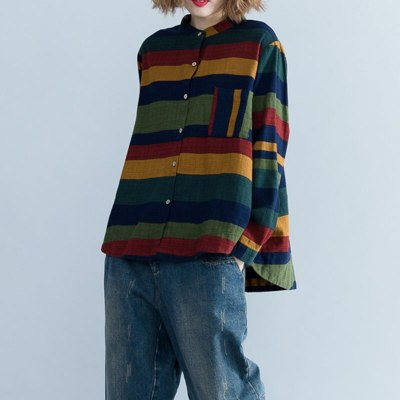 Women Shirt Long Sleeve Cotton Striped Blouse