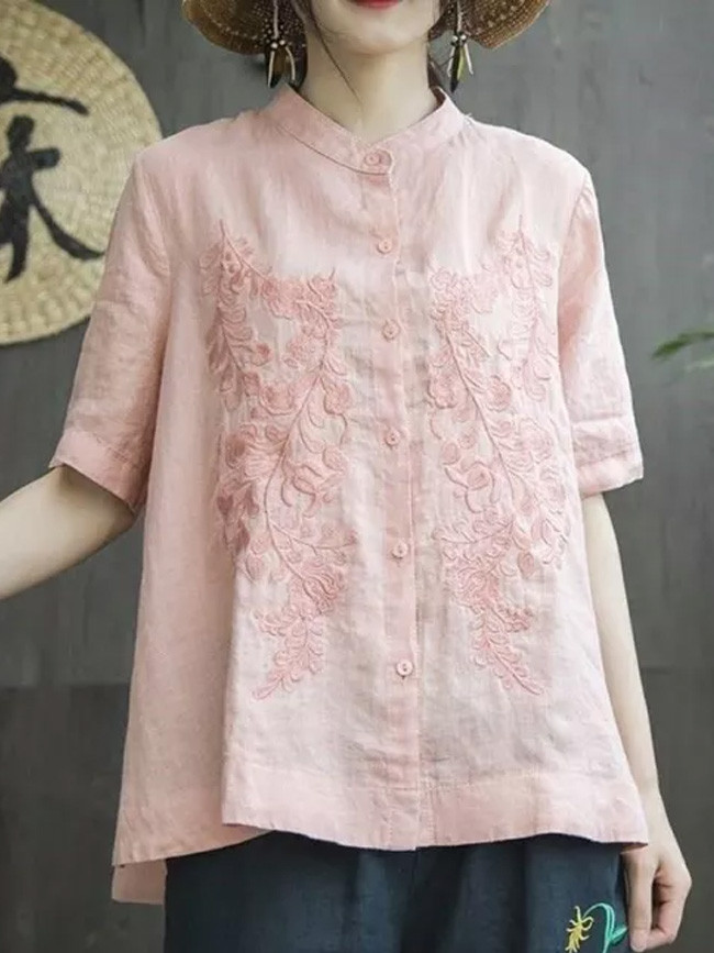 Short Sleeve Loose Embroidery Cotton Linen Ladies Tops
