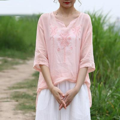 Women Half Sleeve Loose V-neck Tops Vintage Embroidery Cotton Linen Tee Shirt