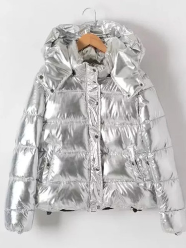 Thicken Hooded Winter Jacket silver Parka Warm  Coat