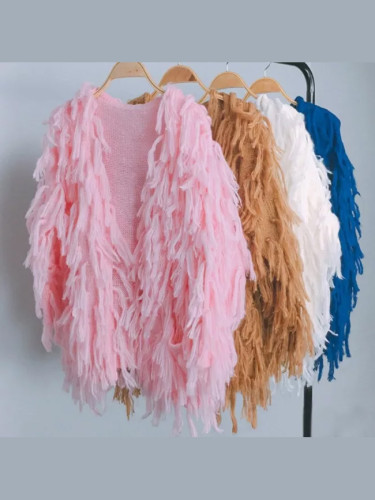 Fringed Shawl Coat loose slim V-Neck Sweater Tassels Knitted Cardigan