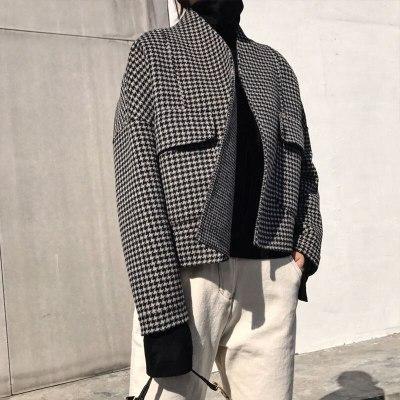 Loose Short Jacket Thicken Plaid Woolen Coats Double Pocket Cardigan Vintage Coat
