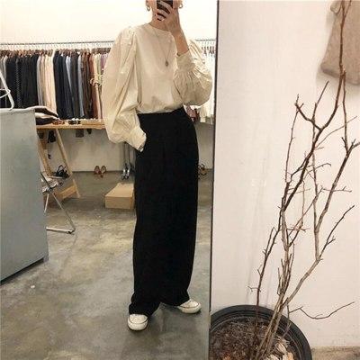 Lantern Sleeve O-neck Shirts Cotton Vintage Solid Korean Blouse Ladies Tops