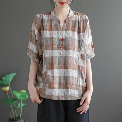Women V-neck Short Sleeve Casual Shirts Cotton Linen Plaid Loose Blouses