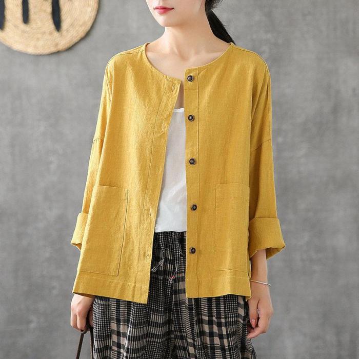 Long Sleeve Loose O-neck Big Pockets cotton linen Casual Blouses