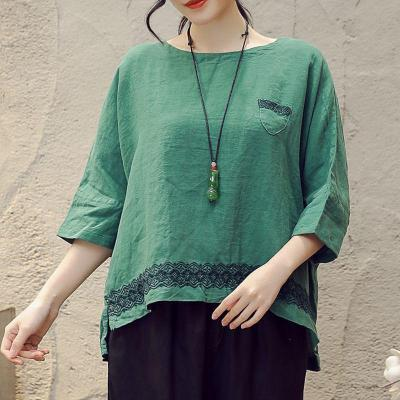 Women Half Sleeve Loose T-shirt Vintage Embroidery Cotton Linen Tee Shirt