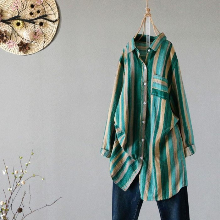 Long Sleeve Loose Casual Cotton Linen Blouse Vintage Striped Ladies Long Tops