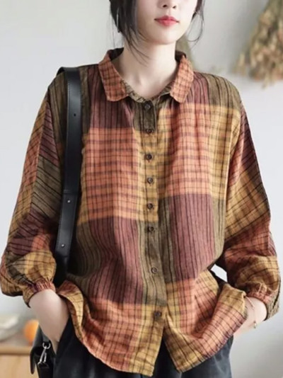 Batwing Sleeve Loose Casual Plaid Blouse Vintage Cotton Linen Shirts Womens Tops