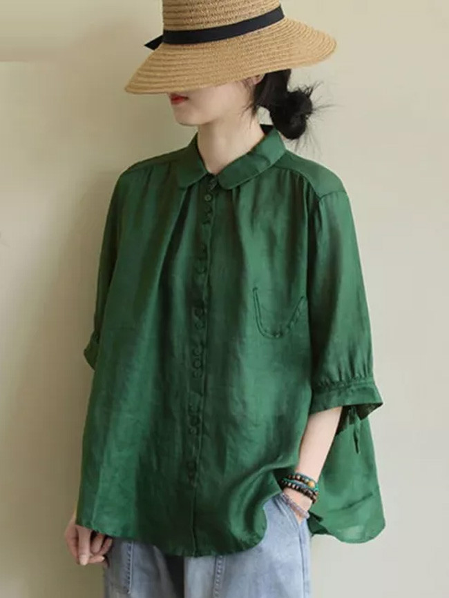 Half Sleeve Loose Casual Shirts Turn-down Collar Single-breasted Cotton Blouse