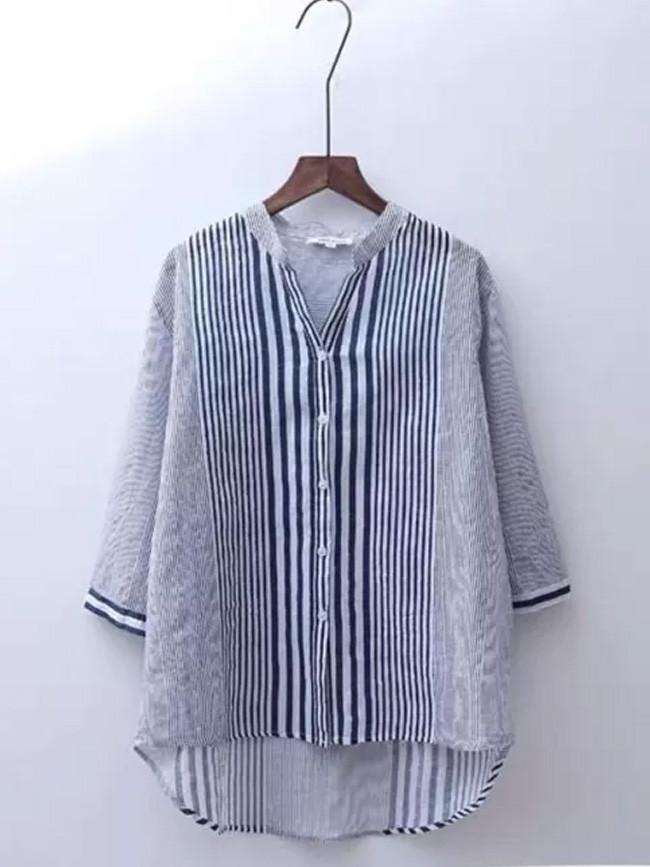 V-neck Casual Blouses Cotton Linen Striped Vintage Shirts
