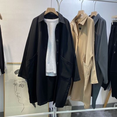 Long Sleeve Turn-down Collar Casual Trench Coat Single Breasted Loose Long Trench
