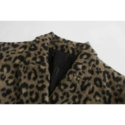 Women Animal Print Coat Double-Breasted Casual Warm Outerwear