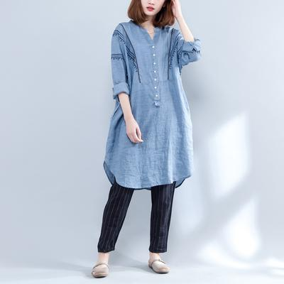 Women Clothing Vintage Embroidery Cotton Linen Long Shirts Loose V-neck Blouses