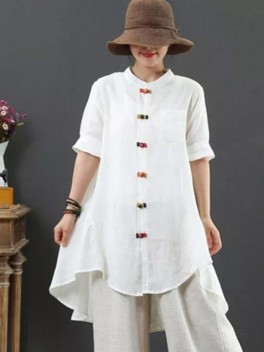 Short Sleeve Loose Colours Button Long Linen Tops Vintage Blouses